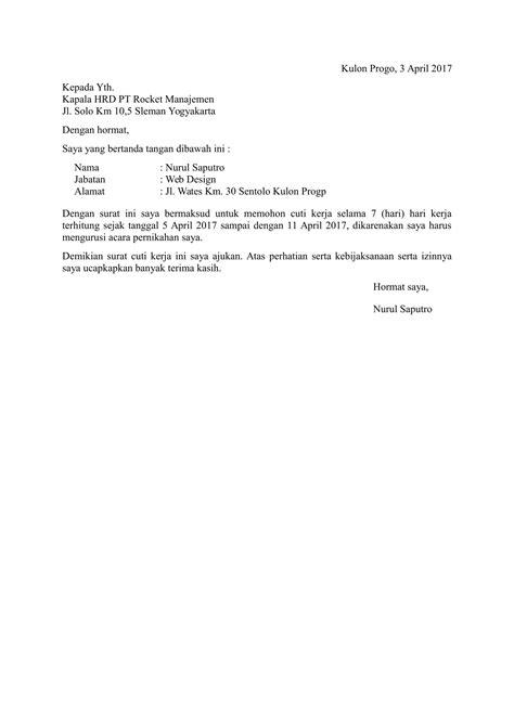 Contoh Surat Izin Cuti Menikah Pdf Suratmenyuratnet