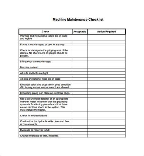 maintenance checklist templates   ms word