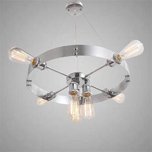 silvery round vintage barn metal hanging ceiling With chrome barn light