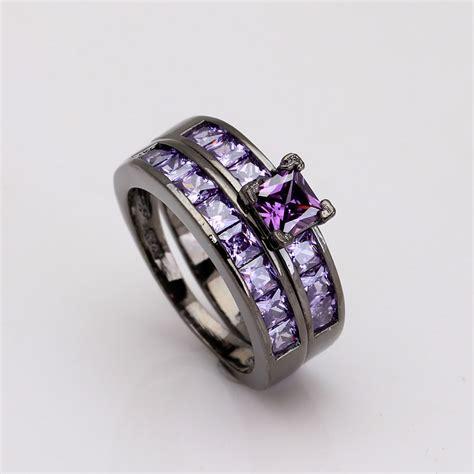 luxury purple black ring sets for gift 2016 vintage