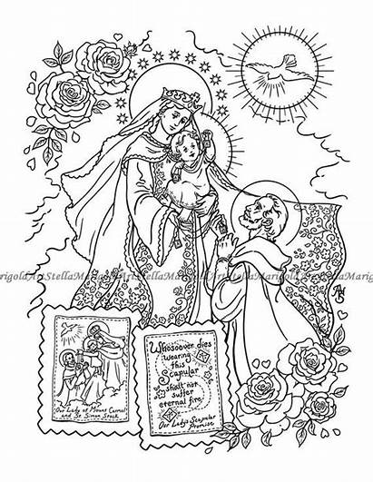 Lady Carmel Mount Coloring Simon Scapular Saint