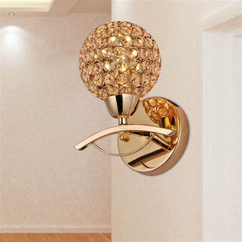 2015 Brief Modern Single Crystal Wall Sconce Golden Wall