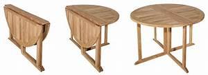 Table Jardin Bois Pliante : table de jardin ronde rabattable en teck brut avec 4 chaises pliantes ~ Teatrodelosmanantiales.com Idées de Décoration