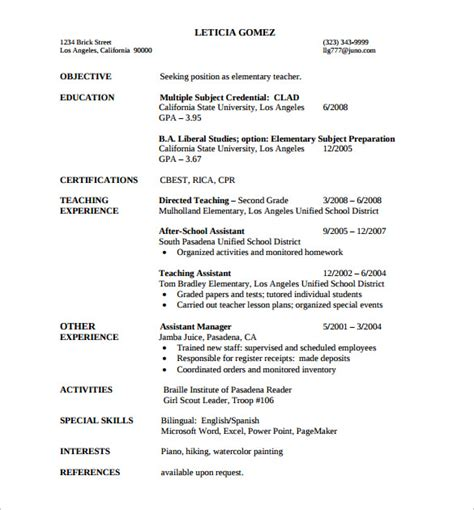 Elementary Resume Exles 2012 by Elementary Resume 12 Free Documents