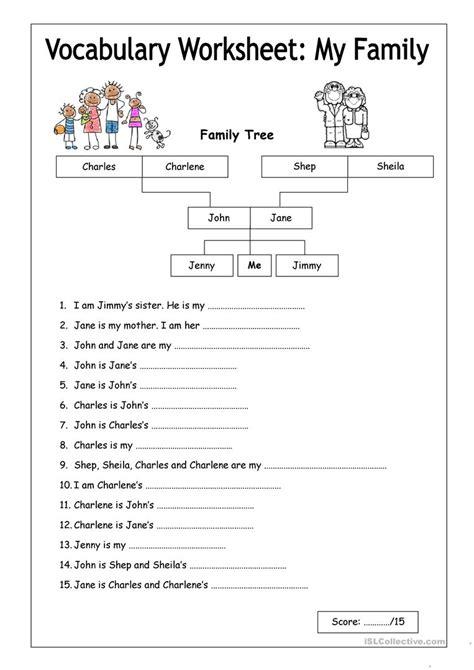 vocabulary worksheet  family easy english esl