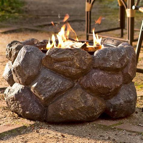 rock pit faux rock fire pit with spark guard the green head