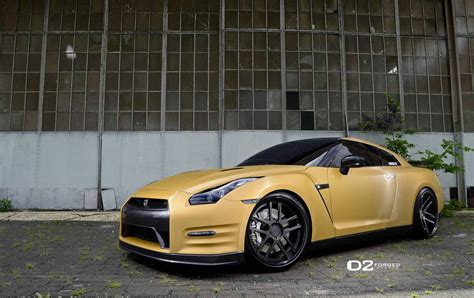 gold nissan car matte gold nissan gtr d2forged cv8 wheels three quarter