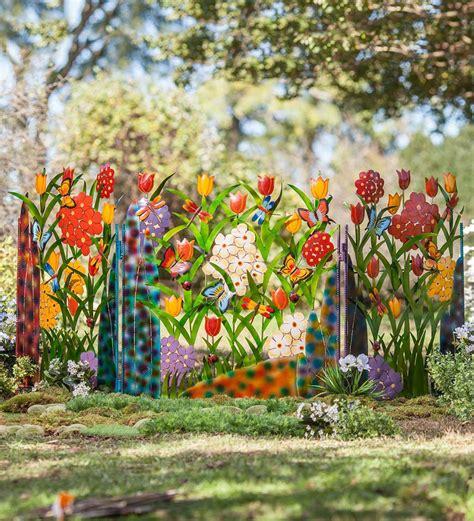 colorful metal  panel butterfly  flower garden screen