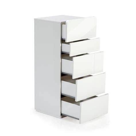 meuble de rangement cuisine pas cher delia chiffonnier 5 tiroirs blanc laqué achat vente