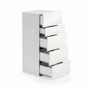 Chiffonnier 5 Tiroirs : delia chiffonnier 5 tiroirs blanc laqu achat vente commode pas cher couleur et ~ Teatrodelosmanantiales.com Idées de Décoration