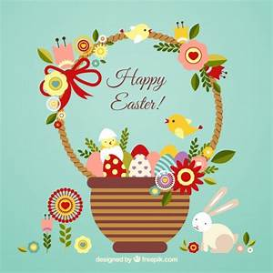 Easter card with a cute basket Vector | Free Download