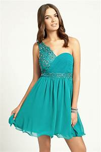 Little Mistress Teal One Shoulder Pleated Prom Dress