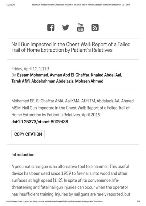 (PDF) Nail Gun Impacted in the Chest Wall: Report of a