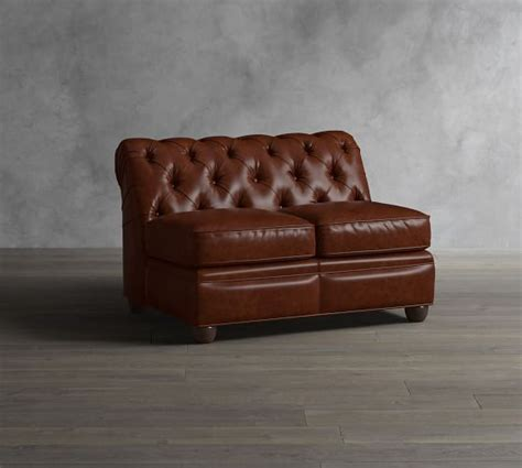 Armless Leather Loveseat by Chesterfield Leather Armless Loveseat Pottery Barn