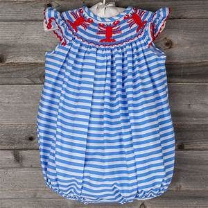 Smocked Lobster Bubble On Horizontal Blue Stripe From