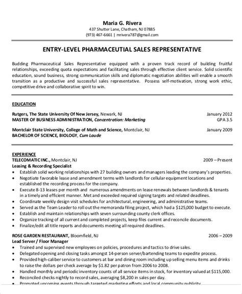 entry level pharmaceutical sales resume fiveoutsiders