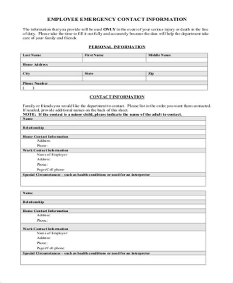 sle employee emergency contact form 6 free documents