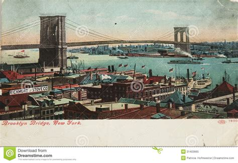 Vintage Brooklyn Bridge Editorial Image Image Of
