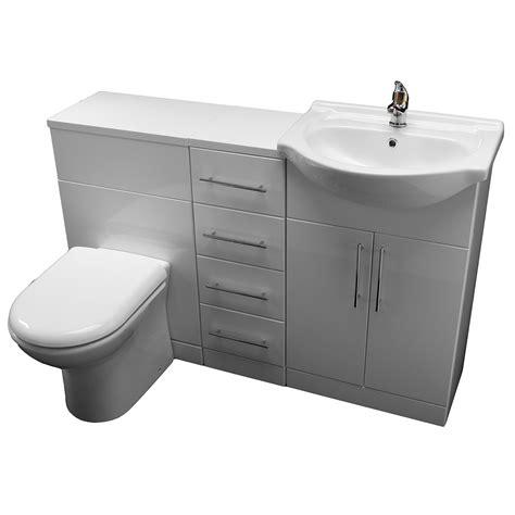 allbits eden white gloss wc combination  vanity unit