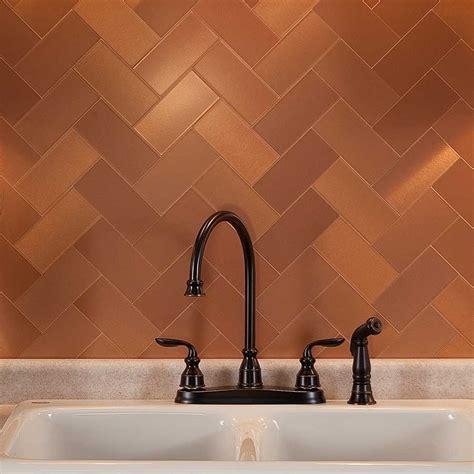 copper kitchen backsplash tiles picture of aspect 3 quot x6 quot brushed copper grain metal
