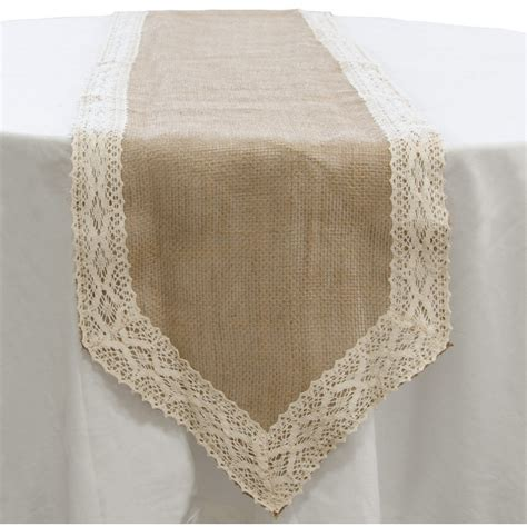 burlap table runner with lace 72 quot loose weave burlap lace table runner natural