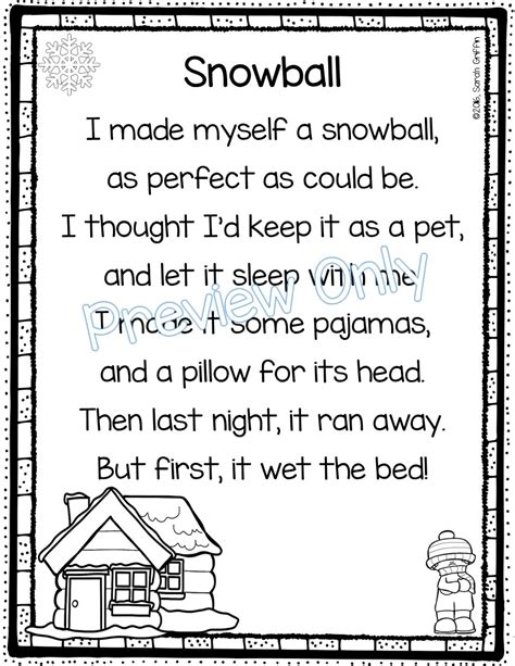 daughters and kindergarten 5 winter poems for 712 | Snowball