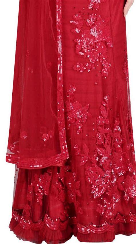 Sequins Floral Work Red Net Crop Top Lehenga SUUDL23719