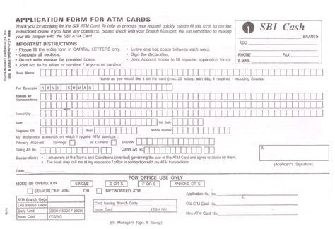 application form  atm card  sbi letter formats