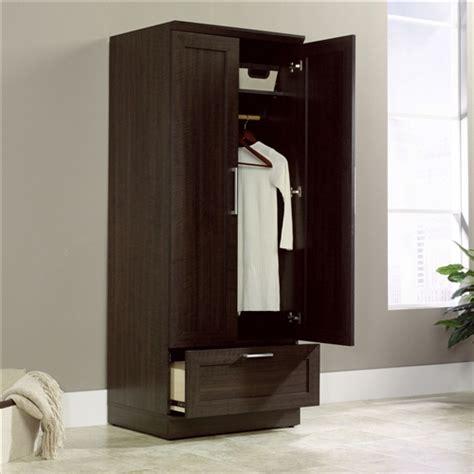 bedroom wardrobe armoire cabinet  dark brown oak wood