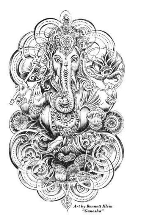"""Ganesha"" Mendhi Elephant Coloring Page 