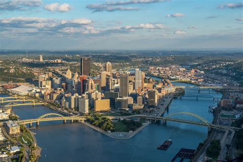 Close up aerial view of the Pittsburgh skyline ...