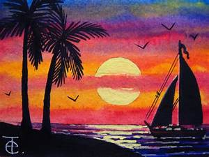 ACEO WATERCOLOR PAINTING - HOW TO PAINT OCEAN SUNSET WITH ...