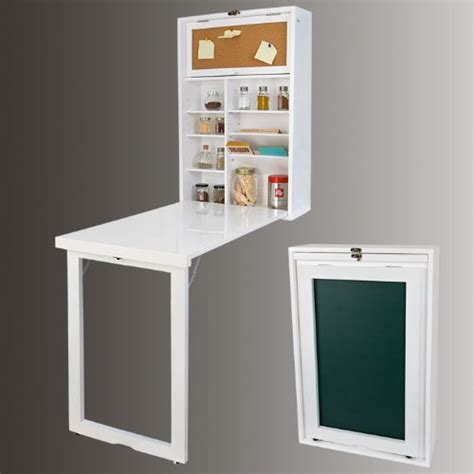 buffet cuisine fly sobuy fwt08 w armoire murale avec table pliable intégrée memo board