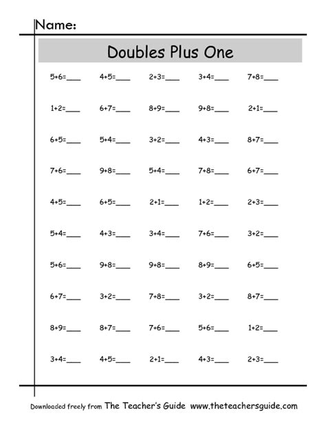 Doubles Addition Worksheet 2nd Grade  Near Doubles Addition Worksheet 2nd Grade Plus One Adult