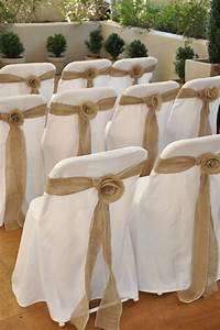 burlap chair covers Items similar to Burlap Rosette Wedding chair sashes, for ...