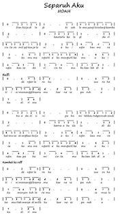 not angka lagu jepang koleksi not angka separuh aku noah revisi