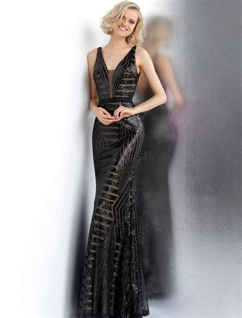 Jovani - JVN67248 Fully Sequined Deep V-neck Sheath Dress ...