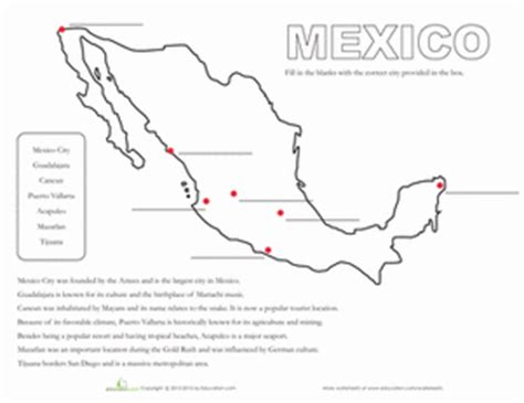 map of mexico worksheet education