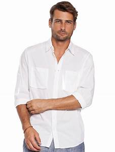 Casual Button Up Shirt - Menu0026#39;s White Aviator Shirt | Island Company