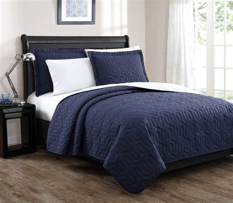 Navy Blue Coverlet by Stenson Navy Ivory Reversible Bedspread Quilt Set King
