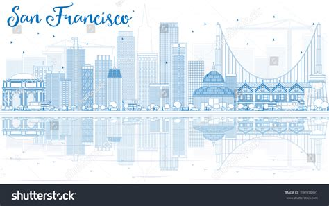 Outline San Francisco Skyline Blue Buildings Stock Vector Business Cards Makeup Artist Moo Glossy Black Design Free Illustrator Templates And Letterheads Backgrounds Personalised Card Holder Amazon On Paper