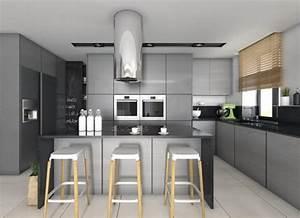 plan de travail cuisine 50 idees de materiaux et couleurs With cuisine grise avec plan de travail noir