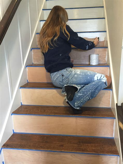 vinyl floating plank stairway makeover swapping carpet for laminate the