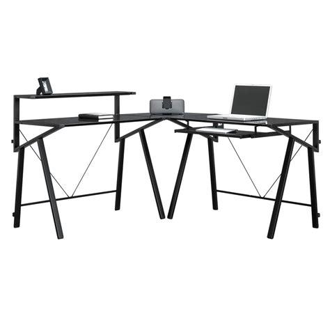 black glass l shaped desk shop sauder vector black glass l shaped desk at lowes com