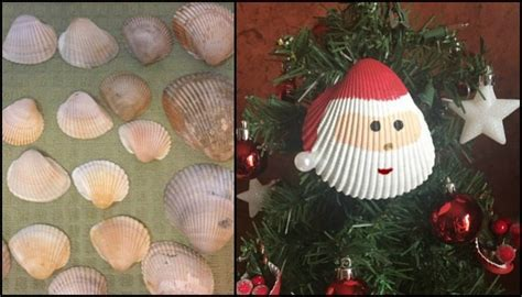 santa christmas tree ornaments  seashells