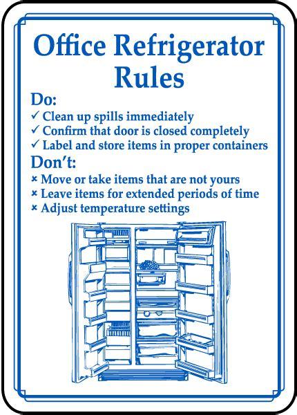 office refrigerator rules sign   safetysigncom