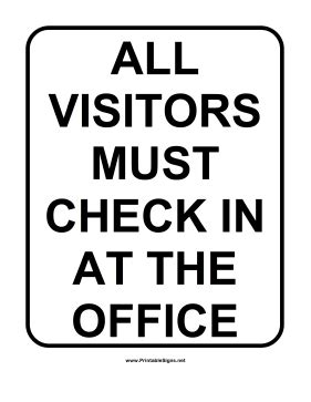 All Visitors Must Sign In Template by Printable School Visitor Sign Sign