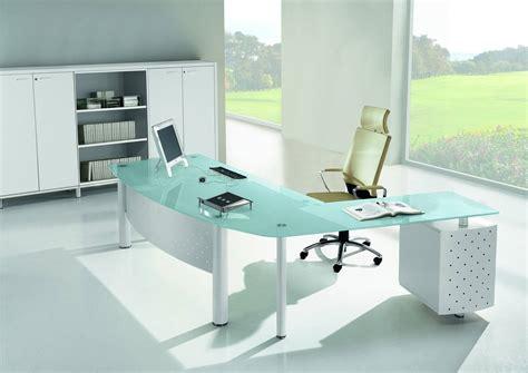 bureau table en verre bureau direction en verre blanc ou couleur mobilier de