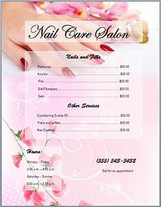 Nail services salon price list template printable templates for Nail salon price list template
