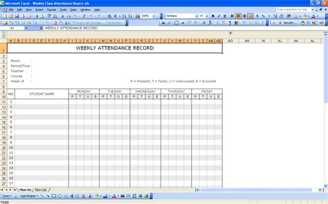 Record Template In Excel by Student Attendance Record Excel Templates
